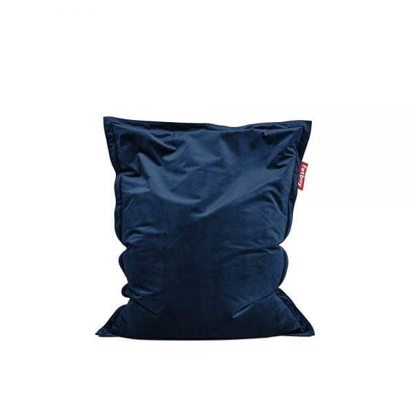 Fatboy Original Slim Velvet saccosekk i farge dark blue ekstra myk fløyel