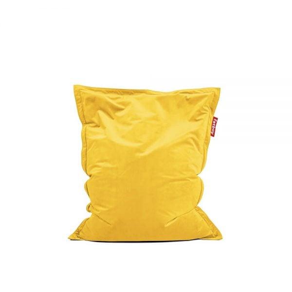 Fatboy Original Slim Velvet saccosekk i farge maize yellow ekstra myk fløyel