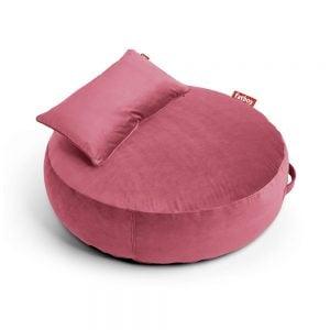 Fatboy puff lounger Pupillow Velvet i farge deep blush mørk rosa ekstra myk fløyel miljøbilde