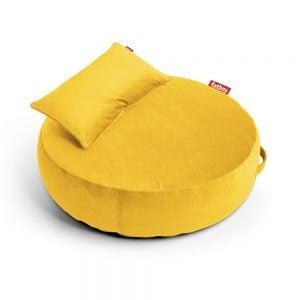 Fatboy puff lounger Pupillow Velvet i farge maize yellow gul ekstra myk fløyel miljøbilde